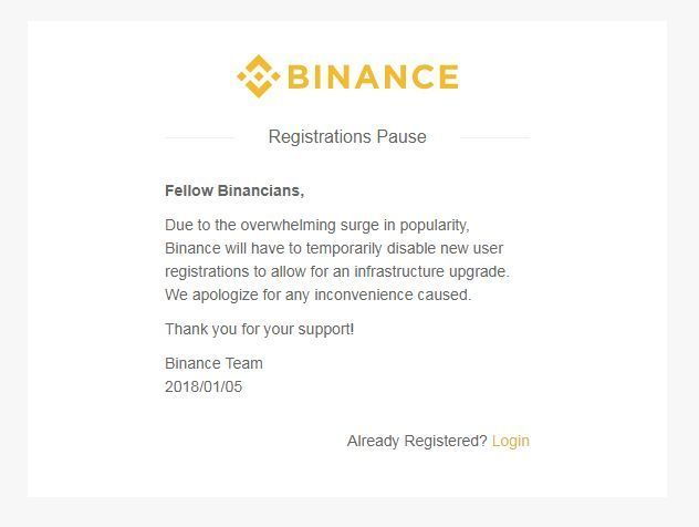 Крупнейшая криптовалютная биржа binance остановила новые регистрации