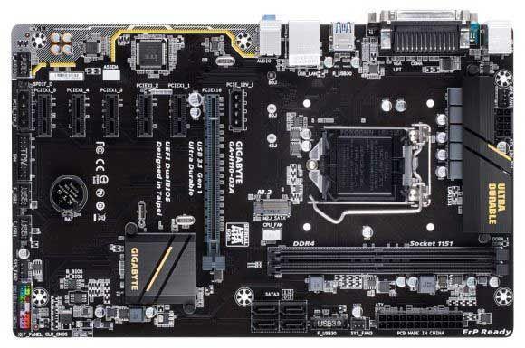 Новая материнская плата gigabyte ga-h110-d3a, разработана специально для майнинга