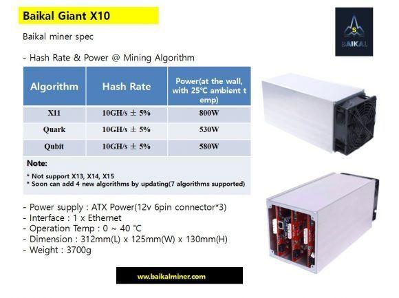 Новый asic майнер baikal giant x10 для dash, quark и qubit